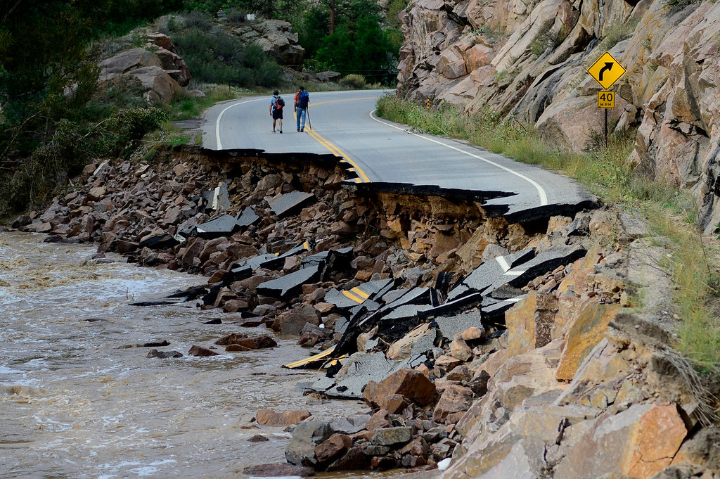 Description of . LYONS, CO - SEPTEMBER 22: during a tour to look at the damage caused by recent flooding in the area on U.S. Highway 36 between Lyons and Pinewood Springs. (Photo by AAron Ontiveroz/The Denver Post)