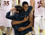 Denver coach Joe Scott embraced junior forward Chris Udofia after the win Saturday night. The University of Denver men's basketball team defeated the Louisiana Tech Bulldogs 78-54 at Magness Arena Saturday night, March 9, 2013. (Photo By Karl Gehring/The Denver Post)