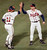 MIKE STANTON -- Atlanta Braves reliever Mike Stanton (30) is congratulated by catcher Damon Berryhill (11) after downing the Pittsburgh Pirates 5-1 to win game one of the NLCS in Atlanta on Oct. 6, 1992. (AP Photo/Ed Reinke)