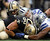 Tight end Jimmy Graham #80 of the New Orleans Saints recovers a fumble against strong safety Eric Frampton #27 of the Dallas Cowboys and inside linebacker Dan Connor #52 of the Dallas Cowboys at Cowboys Stadium on December 23, 2012 in Arlington, Texas. The New Orleans Saints went on the kick the game winning field goal against the Dallas Cowboys in overtime.  (Photo by Tom Pennington/Getty Images)