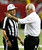 ATLANTA, GA - NOVEMBER 29:  Head coach Mike Smith of the Atlanta Falcons question referee Scott Green #19 during the game against the New Orleans Saints at Georgia Dome on November 29, 2012 in Atlanta, Georgia.  (Photo by Kevin C. Cox/Getty Images)