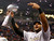 Baltimore Ravens inside linebacker Ray Lewis holds up the Vince Lombardi Trophy after his team defeated the San Francisco 49ers in the NFL Super Bowl XLVII football game in New Orleans, Louisiana, February 3, 2013. REUTERS/Brian Snyder