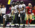 Baltimore Ravens wide receiver Anquan Boldin (81) reacts in the end zone after catching a touchdown pass as San Francisco 49ers strong safety Donte Whitner (31) walks away during the first quarter in the NFL Super Bowl XLVII football game in New Orleans, Louisiana, February 3, 2013. REUTERS/Sean Gardner