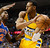 Andre Iguodala (9) of the Denver Nuggets gets trapped in the corner by Iman Shumpert (21) of the New York Knicks during the first quarter March 13, 2013 at Pepsi Center. (Photo By John Leyba/The Denver Post)