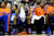 DENVER, CO - MARCH 13: J.R. Smith (8) of the New York Knicks pats the knee of Iman Shumpert (21) of the New York Knicks as he covers his face during the second half of of the Nuggets' win. The Denver Nuggets play the New York Knicks at the Pepsi Center. (Photo by AAron Ontiveroz/The Denver Post)