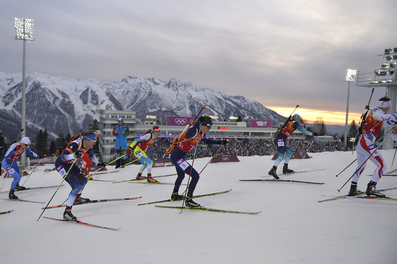 Description of . From left: Estonia's Danil Steptsenko, US' Lowell Bailey, Slovenia's Peter Dokl, Norway's Tarjei Boe, Ukraine's Dmytro Pidruchnyi and France's Alexis Boeuf compete in the Men's Biathlon 4x7.5 km Relay at the Laura Cross-Country Ski and Biathlon Center during the Sochi Winter Olympics on February 22, 2014, in Rosa Khutor, near Sochi. The Russian team won gold. (ODD ANDERSEN/AFP/Getty Images)
