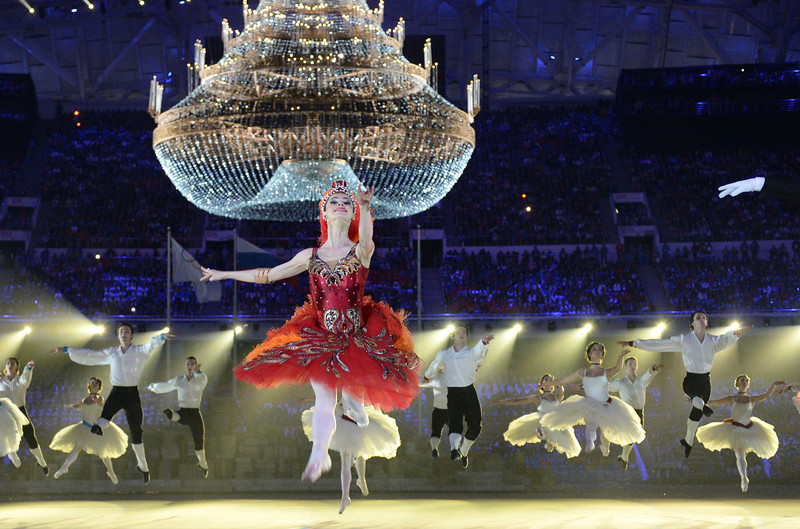 Description of . Dancers perform during the Closing Ceremony of the Sochi Winter Olympics at the Fisht Olympic Stadium on February 23, 2014. DAMIEN MEYER/AFP/Getty Images