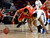 DENVER, CO. - FEBRUARY 09: Dominique Collier (24) of East scrambles for a loose ball with Jalen Kittrell (4) of Highlands Ranch February 9, 2012 at Magness Arena.  East defeated Highlands Ranch 73 - 54. (Photo By John Leyba/The Denver Post)
