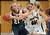 Arapahoe's Miaela Moore (40), center, and Carlyy Buechler (15), right, pressure Mountain Vista's Chelsea Pearson in the first half of the game at Arapahoe High School Gym onSaturday, Jan. 5, 2013, in Centennial, Colo. Arapahoe won 74-38. Hyoung Chang, The Denver Post