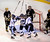 DENVER, CO. - FEBRUARY 28: Mustangs forward Greg Dybe, center, celebrated after he got a shot past Coyotes goaltender Ian Oden in the middle frame Friday night. Ralston Valley exploded for three goals in the second period. Monarch High School matched up against Ralston Valley Friday night, March 1, 2013 in the championship game of the state hockey playoffs at Magness Arena in Denver. (Photo By Karl Gehring/The Denver Post)