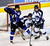 DENVER, CO. - FEBRUARY 28: Mustangs goalie Tyler Anderson (30) looked for the puck through a screen in the second period. Ralston Valley High School took on Resurrection Christian Thursday night, February 28, 2013 in a semifinal match in the Colorado State Ice Hockey Championships at Magness Arena in Denver. (Photo By Karl Gehring/The Denver Post)