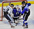 DENVER, CO. - FEBRUARY 28: Mustangs forward Tim Hunton (9) pressured Cougars goalie Brandan Alcorn (55) in the third period. Ralston Valley High School defeated Resurrection Christian 5-1 Thursday night, February 28, 2013 in a semifinal match in the Colorado State Ice Hockey Championships at Magness Arena in Denver. The Mustangs advanced to play in the title game Friday night. (Photo By Karl Gehring/The Denver Post)