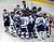 DENVER, CO. - FEBRUARY 28: The Mustangs surrounded winning goalie Tyler Anderson Thursday night. Ralston Valley High School defeated Resurrection Christian 5-1 Thursday night, February 28, 2013 in a semifinal match in the Colorado State Ice Hockey Championships at Magness Arena in Denver. The Mustangs advanced to play in the title game Friday night. (Photo By Karl Gehring/The Denver Post)