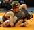 DENVER, CO. - FEBRUARY 21: Ponderosa High School sophomore Kade Snyder, top, rolled Rocky Mountain junior Logan Newmann, bottom, during a 113-pound bout in class 5A. The CHSAA State Wrestling Tournament kicked off Thursday, February 21, 2013 at the Pepsi Center in Denver.    (Photo By Karl Gehring/The Denver Post)