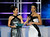 Host Brooke Burke Charvet (L) holds a microphone for Mariah Cary, Miss Iowa,  as she answers a question during the interview portion at the 2013 Miss America Pageant at PH Live at Planet Hollywood Resort & Casino on January 12, 2013 in Las Vegas, Nevada.  (Photo by David Becker/Getty Images)