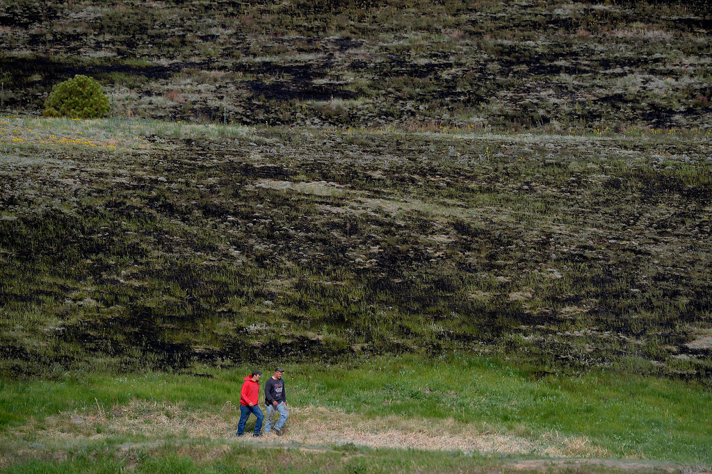 Description of . COLORADO SPRINGS, CO - JUNE 12: Homeowners walk along burned fields near their homes along Herring Road in the Black Forest area northeast of Colorado Springs, CO on June 12, 2013. Temperatures are expected to be in the nineties again today.  Photo by Helen H. Richardson/The Denver Post)