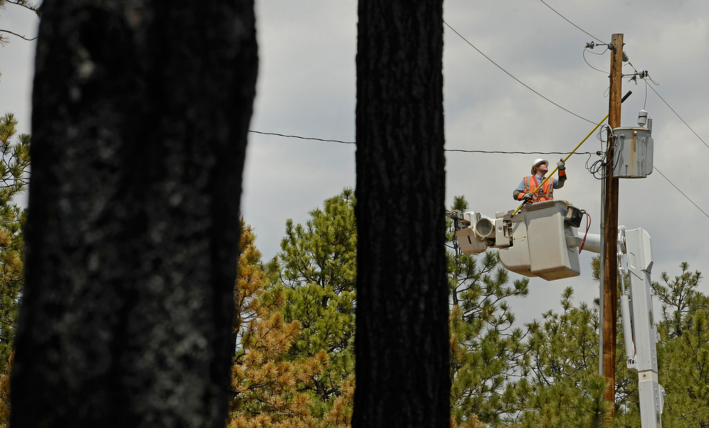 Description of . BLACK FOREST, CO - JUNE 17:   Bryce Myers, a journeyman/lineman with Mountain View Electric Association, repairs overhead electric line inside the Black Forest Fire fire zone in Black Forest on June 16, 2013. The crews are trying to get electricity back to homes that have burned so when residents return they will return to a home with electricity. Photo by Helen H. Richardson/The Denver Post)