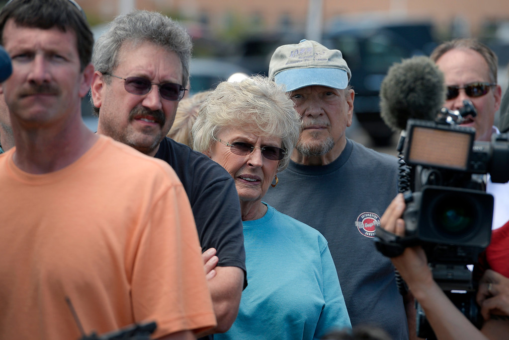Description of . Black Forest evacuees listen closely to a press briefing held for members of the media and for homeowners at Pikes Peak Community College Rampart Range Campus near Monument, CO  on June 15, 2013. Photo by Helen H. Richardson/The Denver Post)