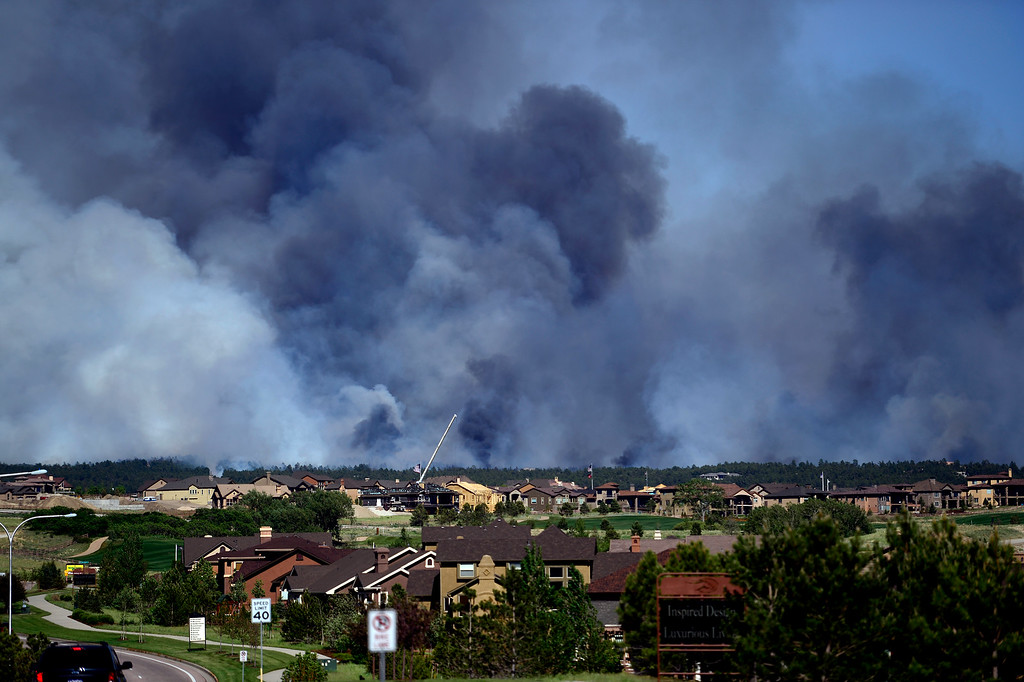 Description of . COLORADO SPRINGS, CO - JUNE 11: The Black Forest fire burns east of Colorado Springs. (Photo by AAron Ontiveroz/The Denver Post)