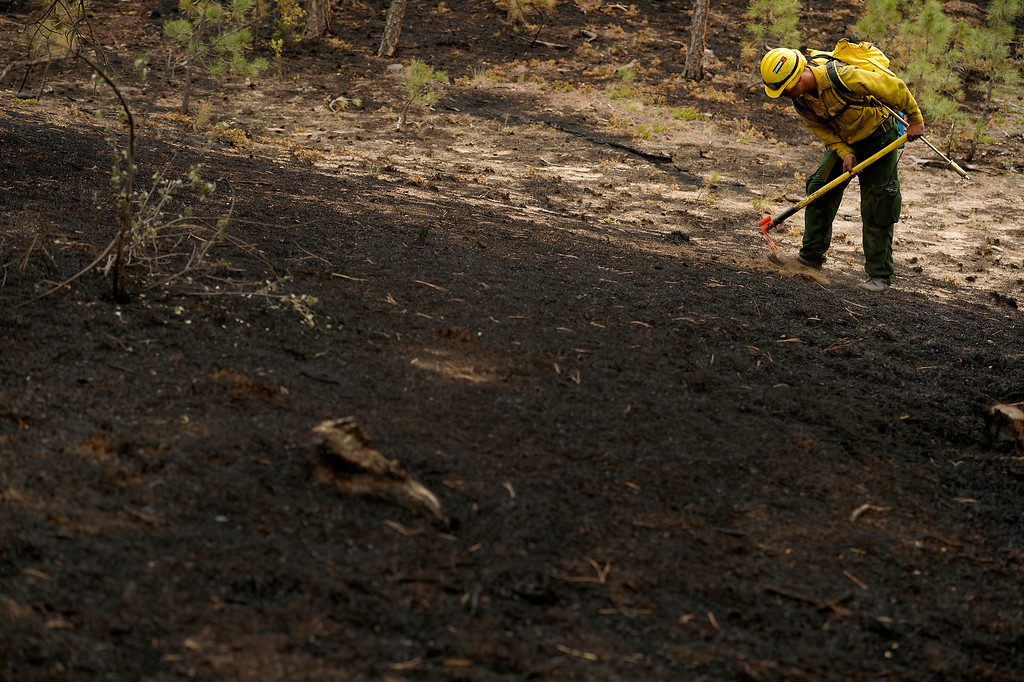 Description of . BLACK FOREST, CO - JUNE 17:   Jesus Hinojos, a firefighter with Hanover Fire Department is covered in soot as he looks for any kind of hotspots on properties inside of the Black Fire fire zone in Black Forest, CO on June 17, 2013.  The fire is now 75% contained and recent rains are helping firefighters. Photo by Helen H. Richardson/The Denver Post)