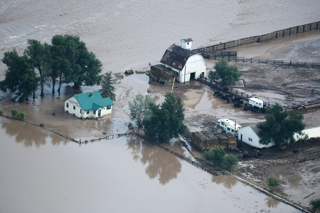 Description of . A flooded farm in Weld County Colorado Saturday morning, September 14, 2103. (Photo By Andy Cross/The Denver Post)