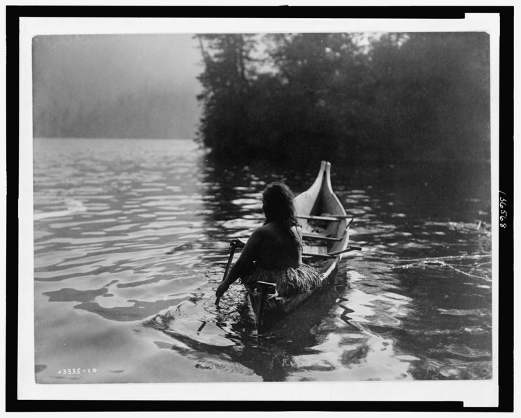 Description of  Title: Into the shadow--Clayoquot.  <br />Date Created/Published: c1910.  <br />Photograph by Edward S. Curtis, Curtis (Edward S.) Collection, Library of Congress Prints and Photographs Division Washington, D.C.