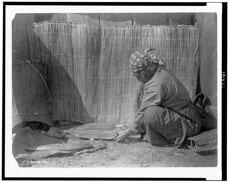 Description of  Title: Preparing salmon--Wishram.  <br />Date Created/Published: c1910.  <br />Summary: Tlakluit Indian woman, sitting on ground, placing salmon fillets on wood plank, woven reed mat in background, Washington State.  <br />Photograph by Edward S. Curtis, Curtis (Edward S.) Collection, Library of Congress Prints and Photographs Division Washington, D.C.
