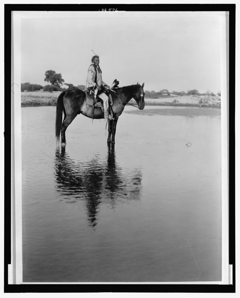 Description of  Title: The lone Chief--Cheyenne.  <br />Date Created/Published: c1927.  <br />Summary: Cheyenne man on horseback in shallow water.  <br />Photograph by Edward S. Curtis, Curtis (Edward S.) Collection, Library of Congress Prints and Photographs Division Washington, D.C.