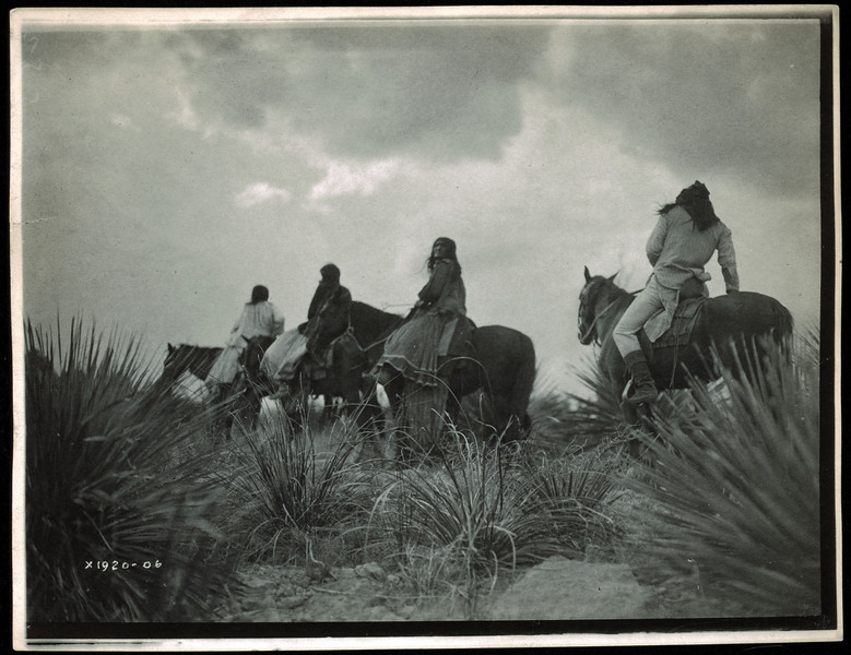 Description of  Title: Before the storm.  <br />Date Created/Published: c1906 December 19.  <br />Summary: Four Apaches on horseback under storm clouds.  <br />Photograph by Edward S. Curtis, Curtis (Edward S.) Collection, Library of Congress Prints and Photographs Division Washington, D.C.