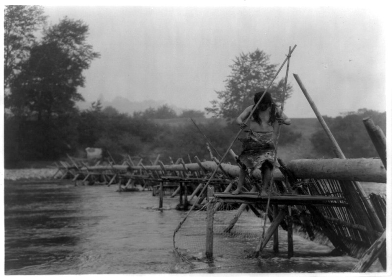 Description of  Title: Fish-weir across Trinity River--Hupa.  <br />Date Created/Published: 1923.  <br />Photograph by Edward S. Curtis, Curtis (Edward S.) Collection, Library of Congress Prints and Photographs Division Washington, D.C.