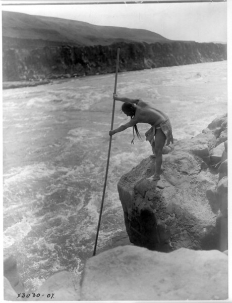 Description of  Title: The fisherman--Wishham (i.e., Wishram).  <br />Date Created/Published: c1910 March 11.  <br />Summary: Tlakluit Indian, standing on rock, fishing with dip net.  <br />Photograph by Edward S. Curtis, Curtis (Edward S.) Collection, Library of Congress Prints and Photographs Division Washington, D.C.