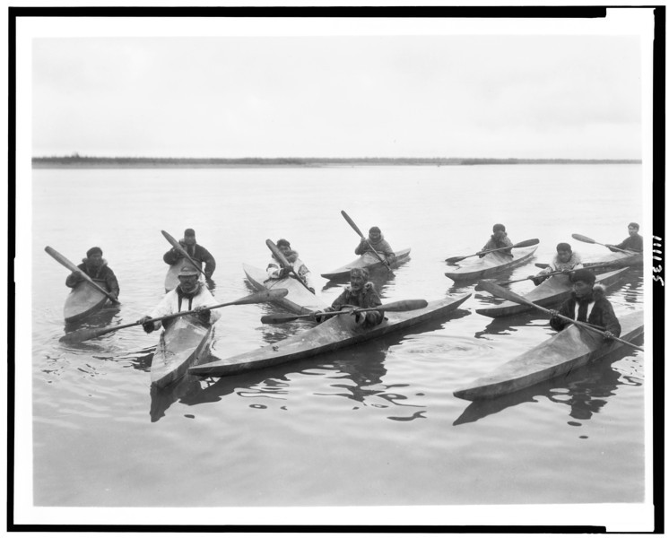 Description of  Title: [Eskimos in kayaks, Noatak, Alaska].  <br />Date Created/Published: c1929.  <br />Photograph by Edward S. Curtis, Curtis (Edward S.) Collection, Library of Congress Prints and Photographs Division Washington, D.C.