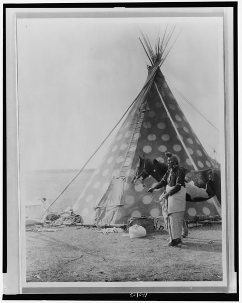 Description of  Title: A Blackfoot tepee.  <br />Date Created/Published: c1927.  <br />Summary: Blackfoot Indian, (Bear Bull?) holding horse outside tipi.  <br />Photograph by Edward S. Curtis, Curtis (Edward S.) Collection, Library of Congress Prints and Photographs Division Washington, D.C.