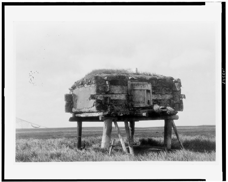 Description of  Title: [Food caches, Hooper Bay, Alaska].  <br />Date Created/Published: c1929.  <br />Photograph by Edward S. Curtis, Curtis (Edward S.) Collection, Library of Congress Prints and Photographs Division Washington, D.C.