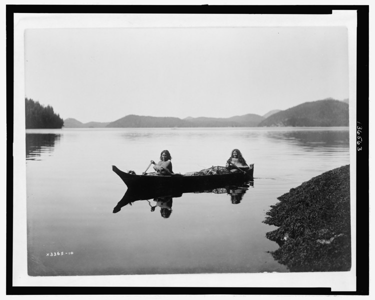 Description of  Title: Canoeing on Clayquot Sound.  <br />Date Created/Published: c1910.  <br />Photograph by Edward S. Curtis, Curtis (Edward S.) Collection, Library of Congress Prints and Photographs Division Washington, D.C.
