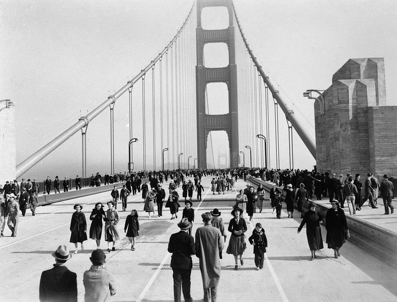 Description of  This is a view of the Golden Gate Bridge, linking San Francisco's Fort Point to Marin County, as it looked when it opened to pedestrians, May 27, 1937. The next day it officially opened to vehicular traffic. (AP Photo/Redwood Empire Association)