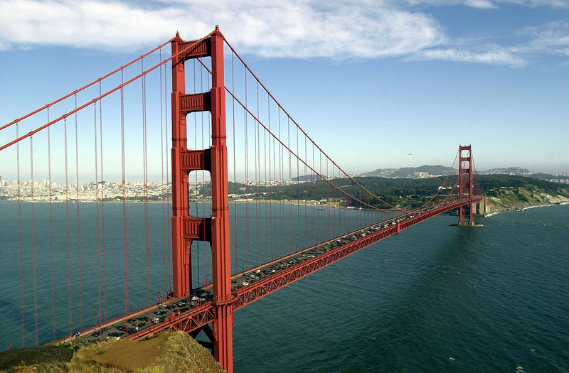 Description of  The Golden Gate Bridge spans the bay in San Francisco, California. (Photo By Justin Sullivan/Getty Images)