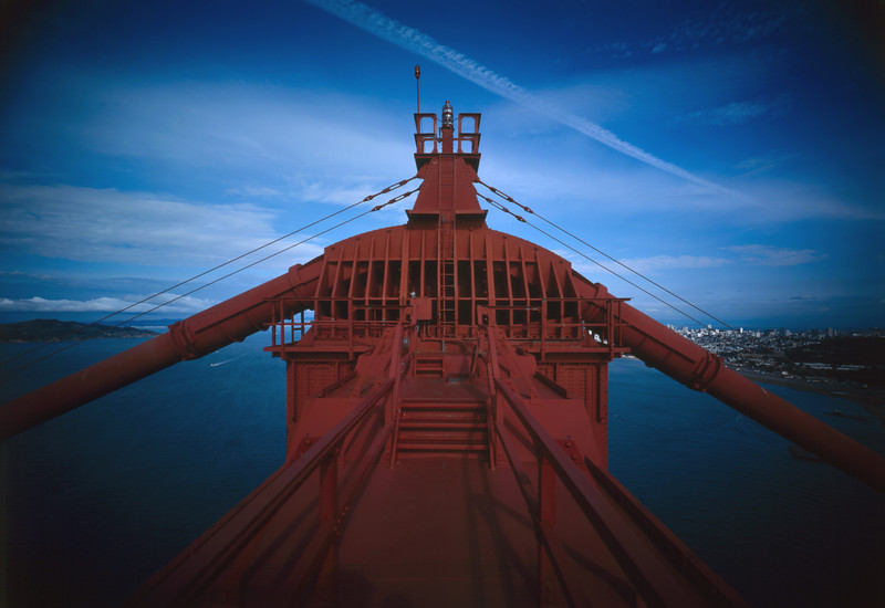 Description of  Detail view of the cable seat on top of the southern tower of the Golden Gate Bridge, 1984. (Photo by Jet Lowe, Library of Congress)
