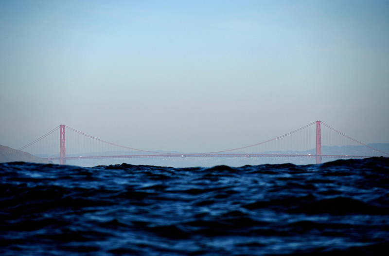 Description of  The Golden Gate Bridge is pictured from the Pacific Ocean on October 24, 2008. (GABRIEL BOUYS/AFP/Getty Images)