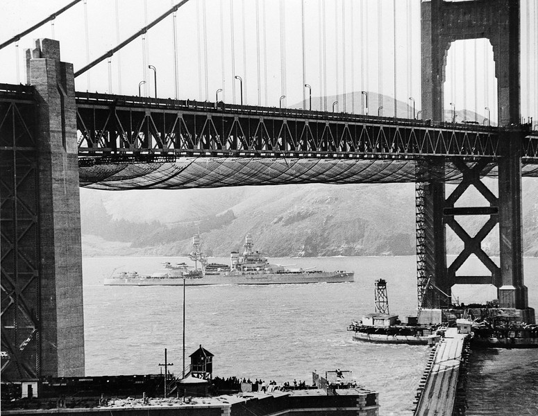 Description of  The U.S. Navy joined with San Francisco in celebration of the opening of the Golden Gate Bridge, May 30, 1937. A naval vessel had just passed under the world's longest suspension span, which crosses the famed entrance to San Francisco Bay.  (AP Photo)
