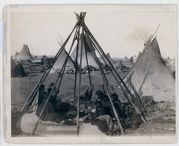 "Description of  Title: ""Home of Mrs. American Horse."" Visiting squaws at Mrs. A's home in hostile camp<br />Oglala women and children seated inside an uncovered tipi frame in an encampment--most are looking away from the camera--probably on or near Pine Ridge Reservation. 1891.<br />Repository: Library of Congress Prints and Photographs Division Washington, D.C. 20540"