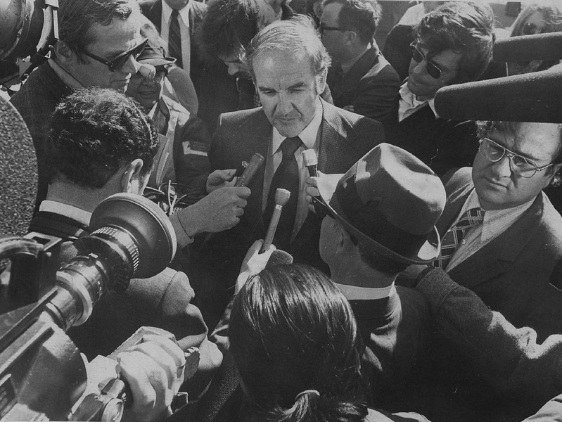 Description of  FEB 23 1973 - Sen. George McGovern Talks With Reporters After Arriving In Pine Ridge. McGovern and fellow democratic Sen. James Abourezk came to meet Indian militants. (Dave Buresh/The Denver Post)