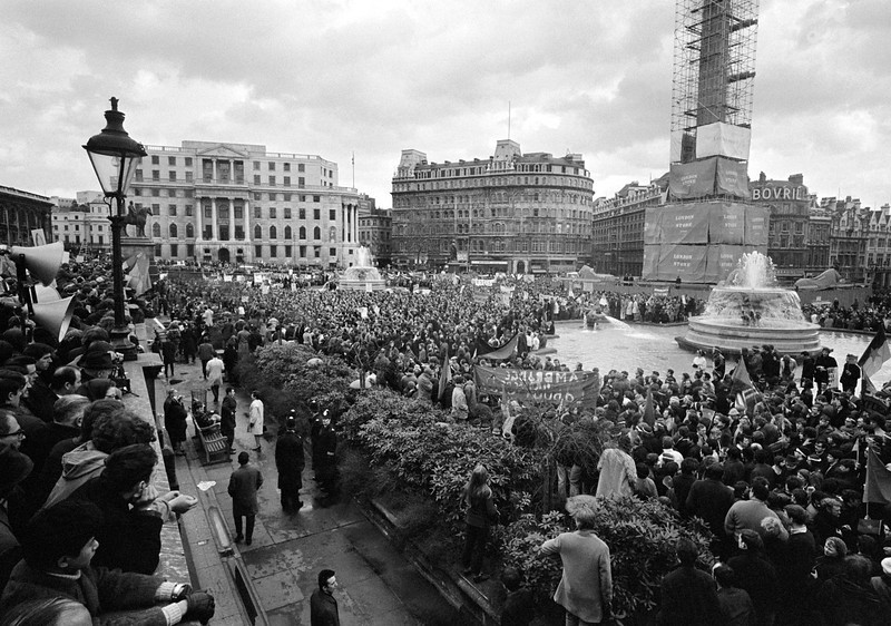Description of  View of the Anti-Vietnam war demonstration held in Trafalgar Square, London, on March 17,1968. (AP Photo)
