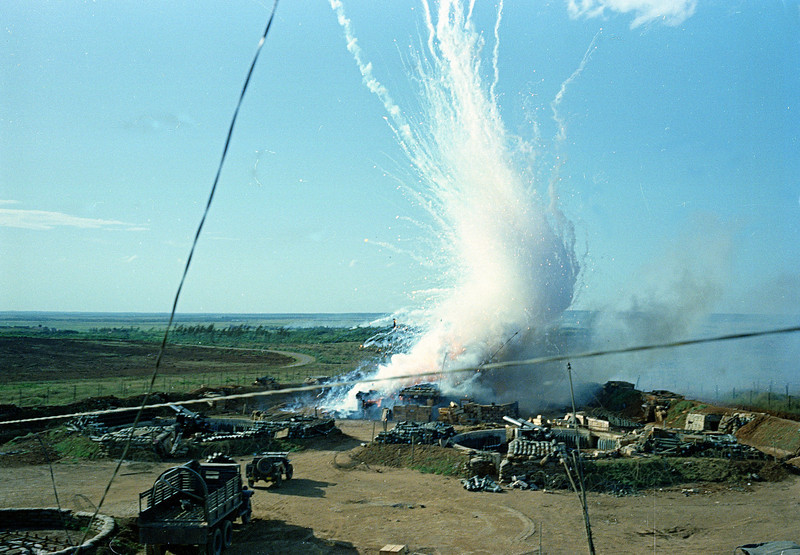 Description of  This general view shows a direct hit with North Vietnam 122 mm shell explosion in a U.S. ammunition bunker of 175 mm cannon emplacements at Gio Linh, next to demilitarization zone between north and south Vietnam, Sept. 1967, during the Vietnam War.  (AP Photo)