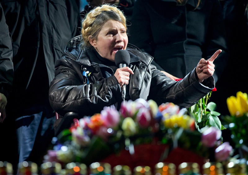 Description of  Former Ukrainian prime minister Yulia Tymoshenko addresses the crowd in central Kiev, Ukraine, Saturday, Feb. 22, 2014. Hours after being released from prison, former Ukrainian prime minister and opposition icon Yulia Tymoshenko praised the demonstrators killed in violence this week as heroes. (AP Photo/Darko Bandic)