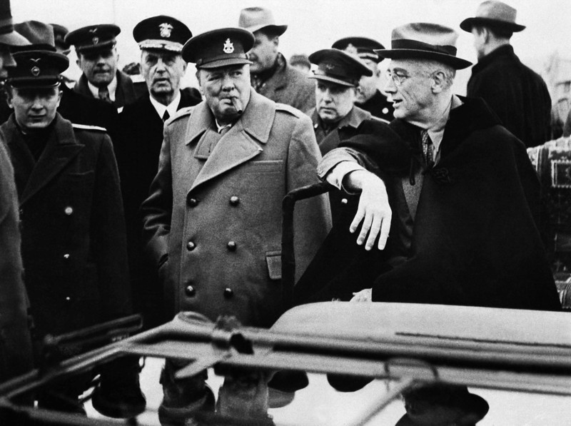 Description of  President Roosevelt, Prime Minister Churchill and Marshal Stalin, accompanied by Foreign Secretaries, Chiefs of Staff and other Advisors, met at Yalta in the Crimea in February 1945. (AP Photo)