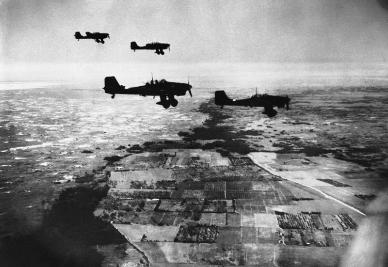 Description of  This picture shows Nazi Stuka bombers in flight heading towards their target over coastal territory between Dniepr and Crimea, towards the Gate of the Crimea on Nov. 6, 1941. Apparently the narrow neck of the Russian black-sea Peninsula ris where the Germans are reported to be steadily pushing forward.  (AP Photo)