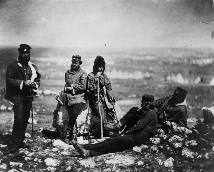 Description of  circa 1855:  Officers of the 89th Regiment, Princess Victoria's Royal Irish Fusiliers, at Cathcart's Hill in the Crimea.  (Photo by Hulton Archive/Getty Images)