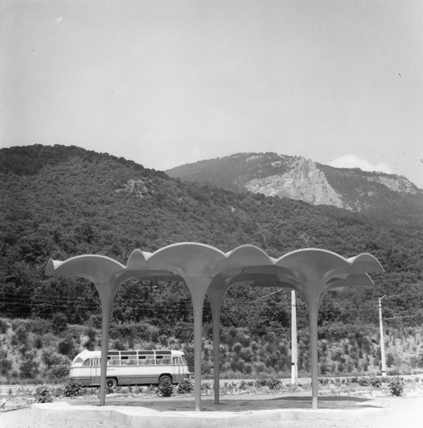 Description of  circa 1950:  A shady bus stop in Yalta.  (Photo by Three Lions/Getty Images)