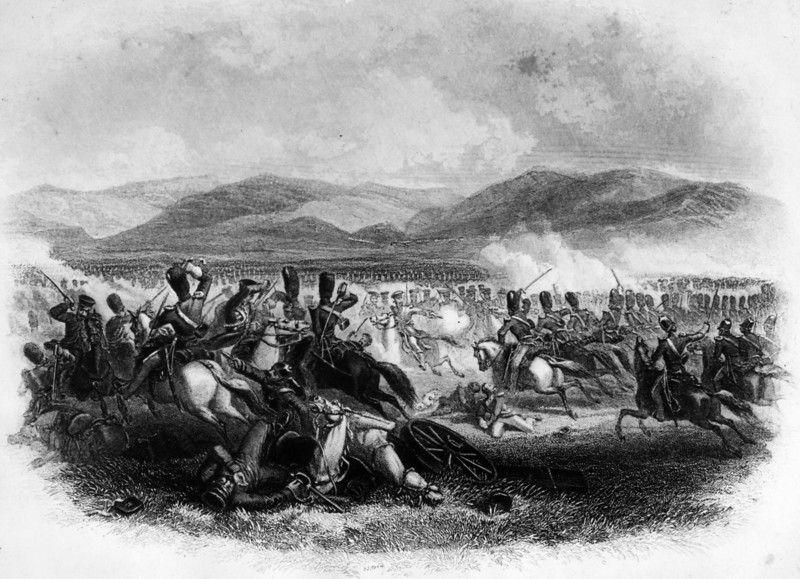 Description of  25th October 1854:  Charge of the heavy cavalry at Balaklava, in the Crimea. Original Artwork: Engraving by J J Crewe.  (Photo by Hulton Archive/Getty Images)